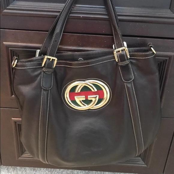 5dbeb3b056fa Gucci Bags | Auth Britt Brown Leather Hobo Bag | Poshmark